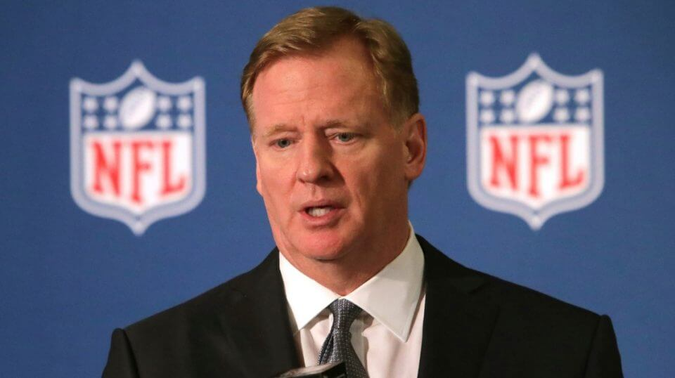 NFL Commissioner Roger Goodell speaks during a news conference after the football leagues' meeting in Irving, Texas, on Dec. 12, 2018.