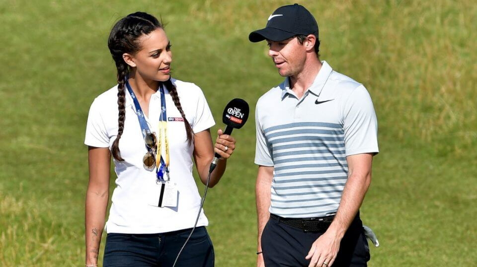 Henni Zuel of Sky Sports interviews Rory McIlroy on the course during a practice round prior to the 146th British Open Championship at Royal Birkdale on July 18, 2017.