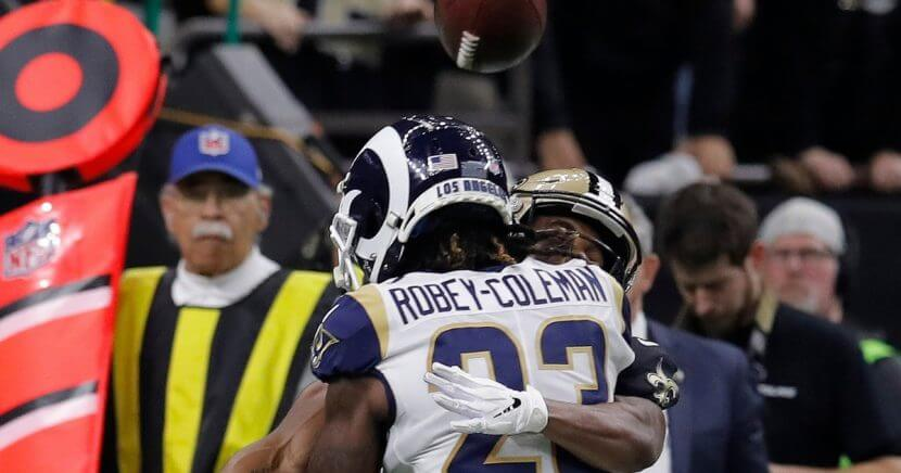 Los Angeles Rams defensive back Nickell Robey-Coleman's fourth-quarter play against New Orleans Saints wide receiver Tommylee Lewis in the NFC championship game Sunday appeared to be pass interference, but it wasn't called.