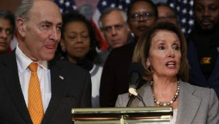Senate Minority Leader Chuck Schumer and House Speaker Nancy Pelosi participate in a Jan. 9 news conference on Capitol Hill.
