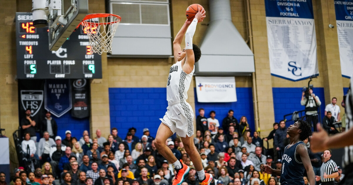 Scotty Pippen Jr. of Sierra Canyon dunks the ball in a game against Mayfair on Jan. 4 in Chatsworth, California.