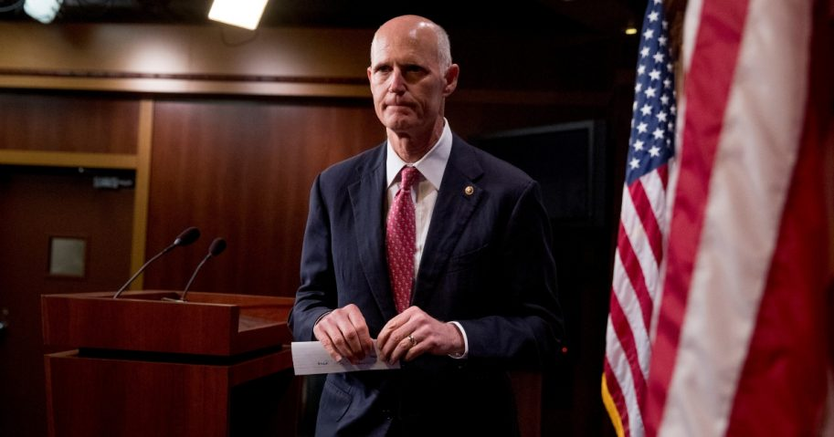 Sen. Rick Scott, R-Fla., departs after discusses the government shutdown at a news conference on Capitol Hill in Washington, Jan. 17, 2019.