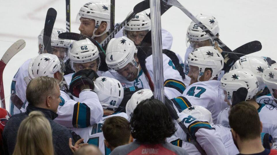 San Jose Sharks center Tomas Hertl (48) celebrates his game-winning goal for a hat trick with his teammates Tuesday in Washington.