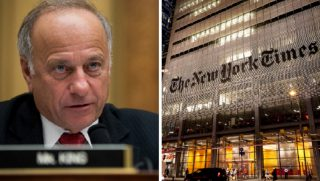 Rep. Steve King, left; a shot of the New York Times building at night, right.