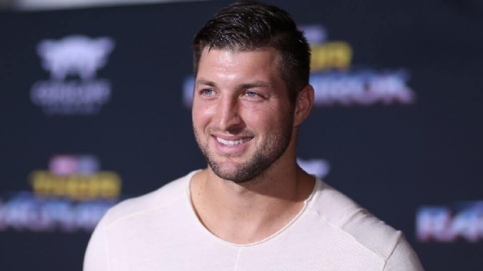 """Tim Tebow is seen here at the world premiere of Marvel Studios' """"Thor: Ragnarok"""" at the El Capitan Theatre on Oct. 10, 2017 in Hollywood, California."""
