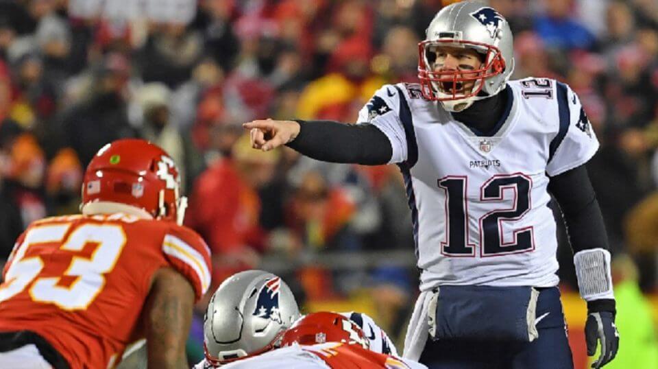 Tom Brady calling signals against Kansas City.