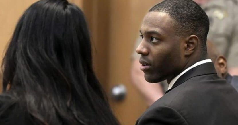 Torrey Green, who played linebacker at Utah State University, in court.