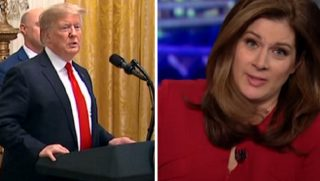 President Donald Trump, left; CNN's Erin Burnett, right.