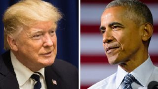 President Donald Trump, left; and former President Barack Obama, right.