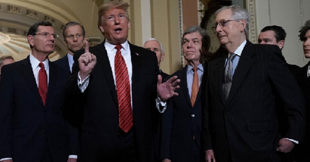 President Trump with top Senate Republicans.