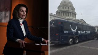 Nancy Pelosi, left, and bus, right.