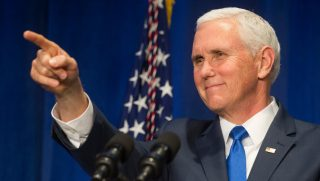 Vice President Mike Pence speaks at the 2019 March for Life dinner in Washington, Jan. 18, 2019.