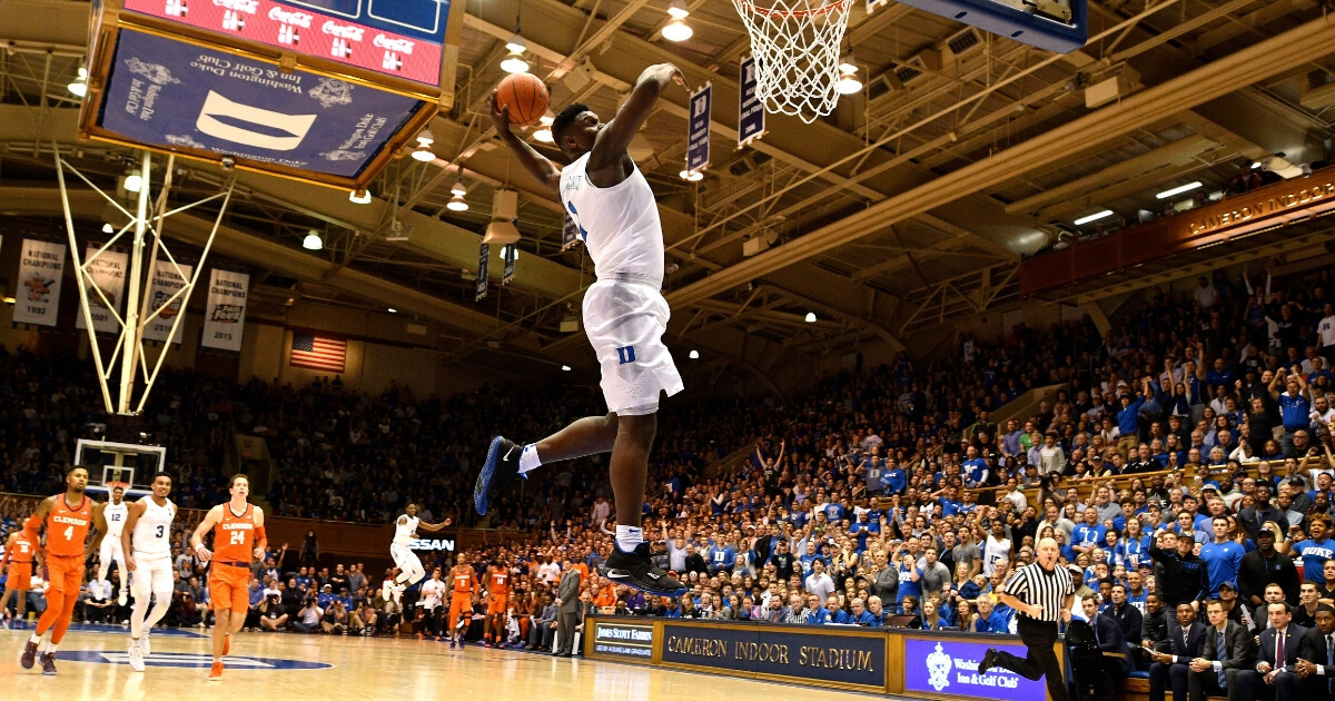 Zion Williamson of the Duke Blue Devils goes up for a 360-degree dunk against the Clemson Tigers in a Jan. 5 game at Cameron Indoor Stadium.