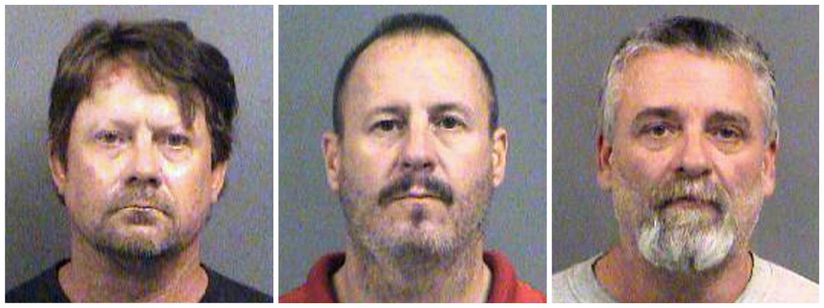 This combination of Oct. 14, 2016, file booking photos provided by the Sedgwick County Sheriff's Office in Wichita, Kansas, shows from left, Patrick Stein, Curtis Allen and Gavin Wright, three members of a Kansas militia group who were charged with plotting to bomb an apartment building filled with Somali immigrants in Garden City, Kansas.
