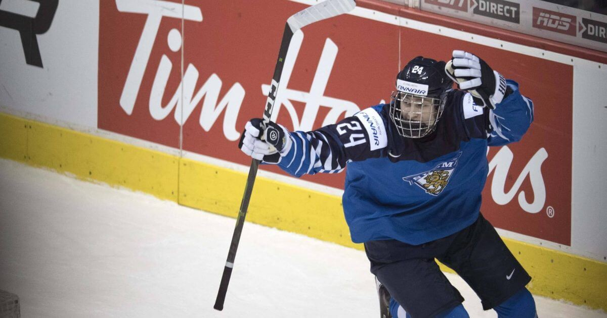 Finland's Kaapo Kakko celebrates his winning goal against the United States during third-period IIHF world junior hockey final action in Vancouver, British Columbia, on Saturday.