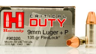 A box of Hornady Critical Duty 9mm hollow point bullets.