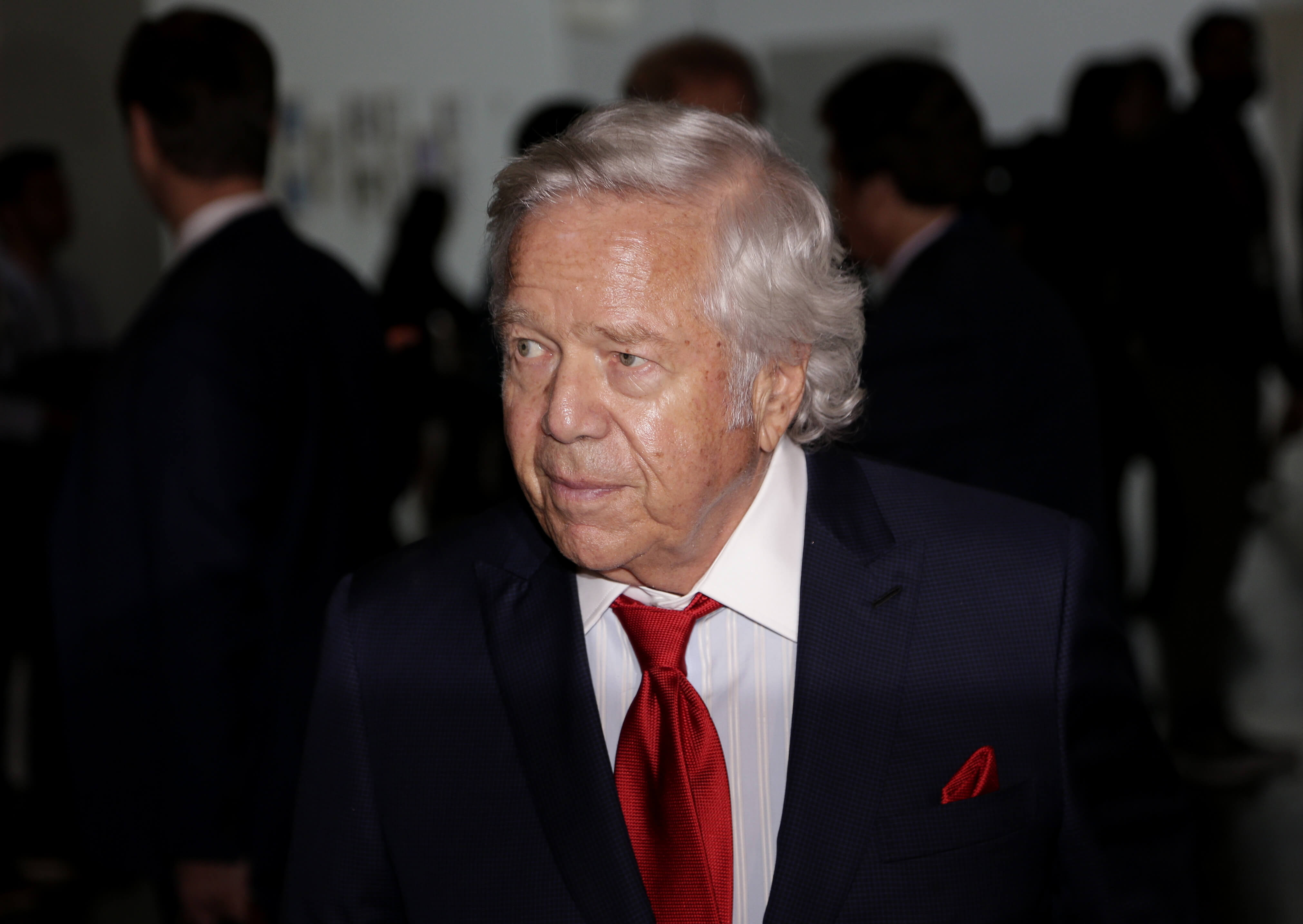 New England Patriots owner Robert Kraft arrives for the NFL fall meetings in New York on Oct. 19.