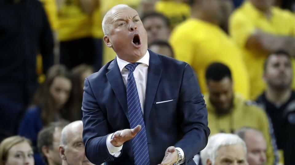Penn State coach Pat Chambers argues a call in the second half of Thursday's game against Michigan in Ann Arbor.