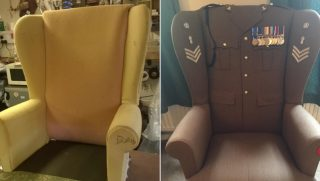 Chair turned into military uniform