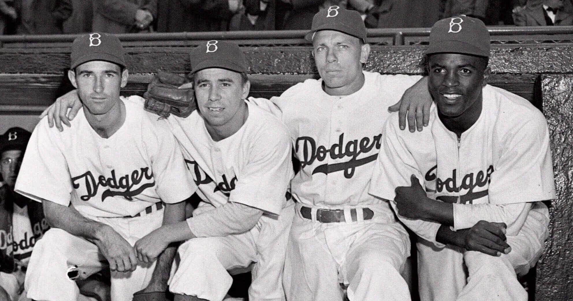 From left, Brooklyn Dodgers John Jorgensen, Pee Wee Reese, Ed Stanky and Jackie Robinson pose at Ebbets Field in New York on April 15, 1947.