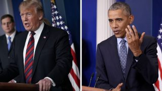 President Donald Trump press conference / President Barack Obama press conference.