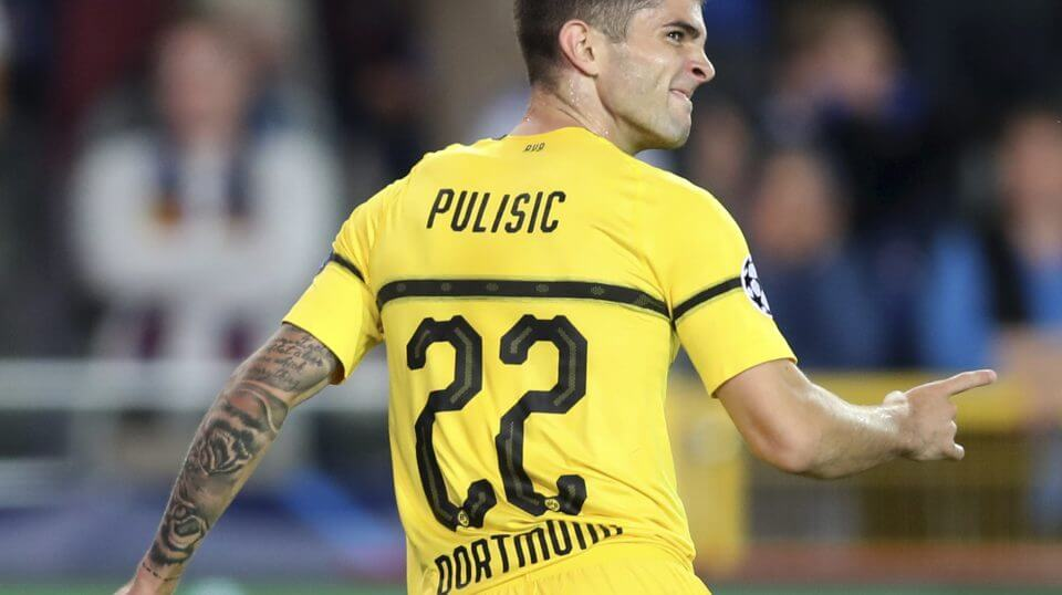 Borussia Dortmund's Christian Pulisic celebrates scoring his side's first goal during a Champions League group A soccer match between Club Brugge and Borussia Dortmund at the Jan Breydel Stadium in Bruges, Belgium, on Sept. 18.