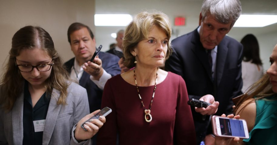 Sen. Lisa Murkowski talks with reporters.