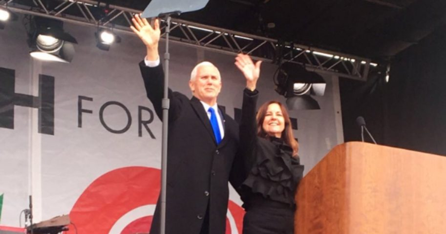 Vice President Mike Pence and second lady Karen Pence at the 2019 March for Life in Washington, D.C.