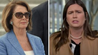 House Speaker Nancy Pelosi, left; and White House press secretary Sarah Sanders, right.