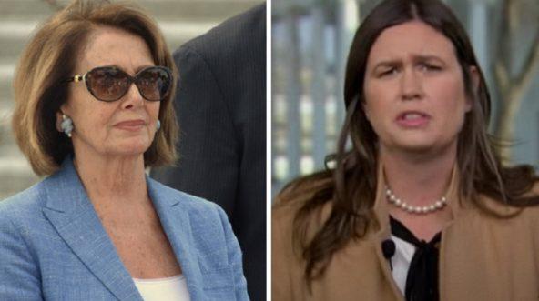 House Speaker Nancy Pelosi, left; and White House press secretary Sarah Sanders, right.