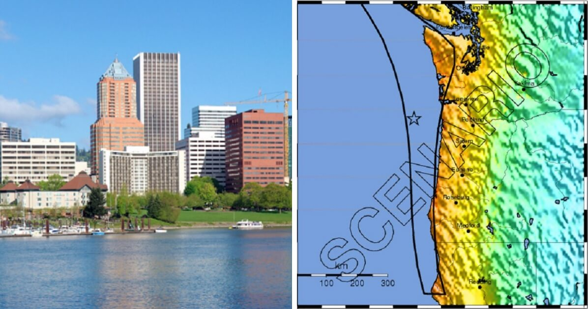 Portland skyline, left; map of Cascadia Fault, right.