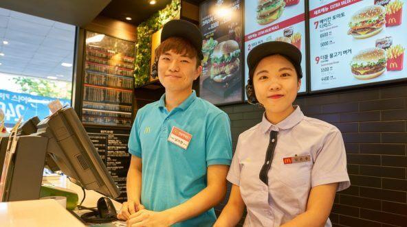 South Korean workers at McDonald's