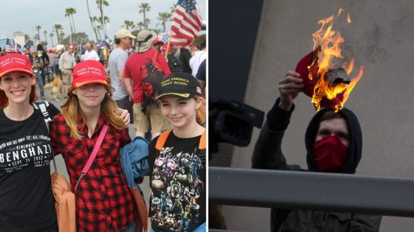 Girls wearing MAGA hats, left, and Antifa burning a MAGA hat, left.