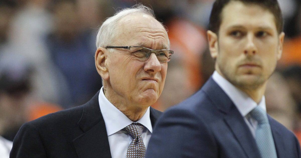Syracuse coach Jim Boeheim waits for the team's NCAA college basketball game against Duke in Syracuse, N.Y., on Saturday, Feb. 23, 2019. Three days after he accidentally hit and killed a pedestrian, Boeheim returned to the bench to loud applause prior to the Orange's game against top-ranked Duke.
