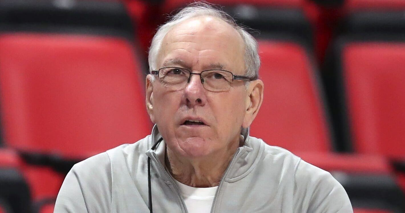 Syracuse head coach Jim Boeheim watches during a practice for an NCAA tournament game March 15, 2018, in Detroit.