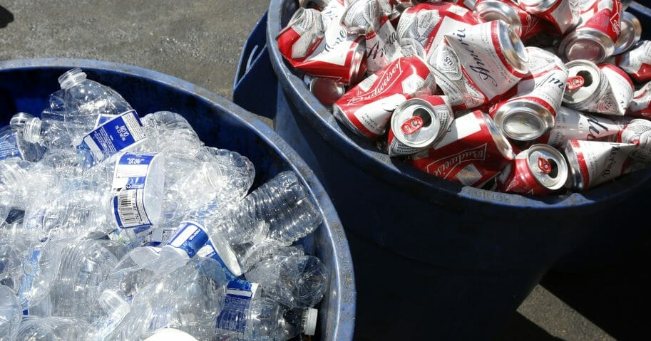 In this July 5, 2016, file photo, cans and plastic bottles brought in for recycling are seen at a recycling center in Sacramento, California.