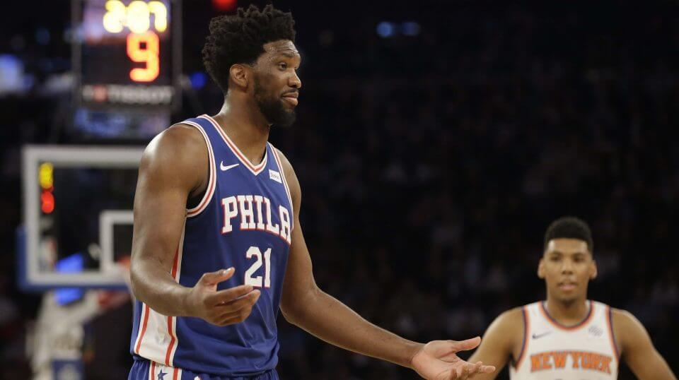 The Philadelphia 76ers' Joel Embiid reacts during a Feb. 13 game against the New York Knicks.