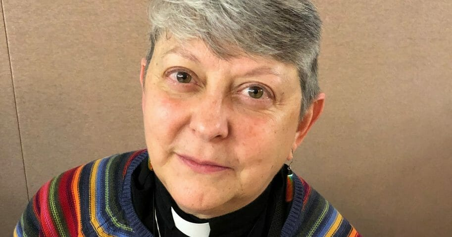 Lois McCullen Parr, 60, a United Methodist elder in Albion, Michigan, who identifies as bisexual and queer, is seen Monday at the UMC's national conference in St. Louis.