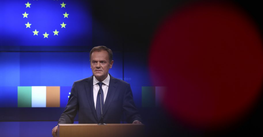 European Council President Donald Tusk makes a joint statement with Irish Prime Minister Leo Varadkar following their meeting at the Europa building in Brussels on Wednesday.