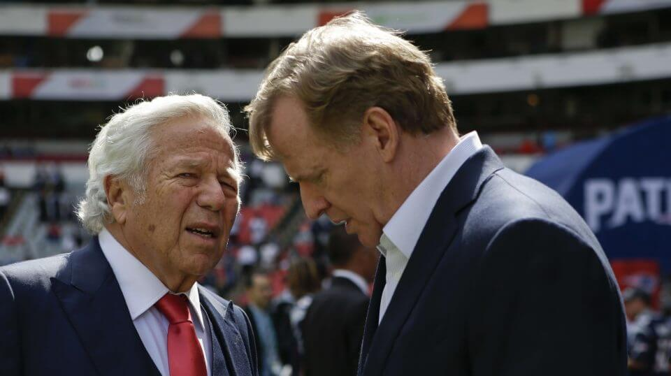 NFL Commissioner Roger Goodell, right, talks with New England Patriots owner Robert Kraft before the Patriots face the Oakland Raiders in Mexico City on Nov. 19, 2017.