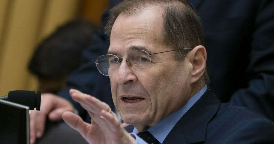 In this Feb. 8, 2019, photo, House Judiciary Committee Chairman Jerrold Nadler, D-N.Y., gestures during questioning of acting Attorney General Matthew Whitaker on Capitol Hill in Washington.