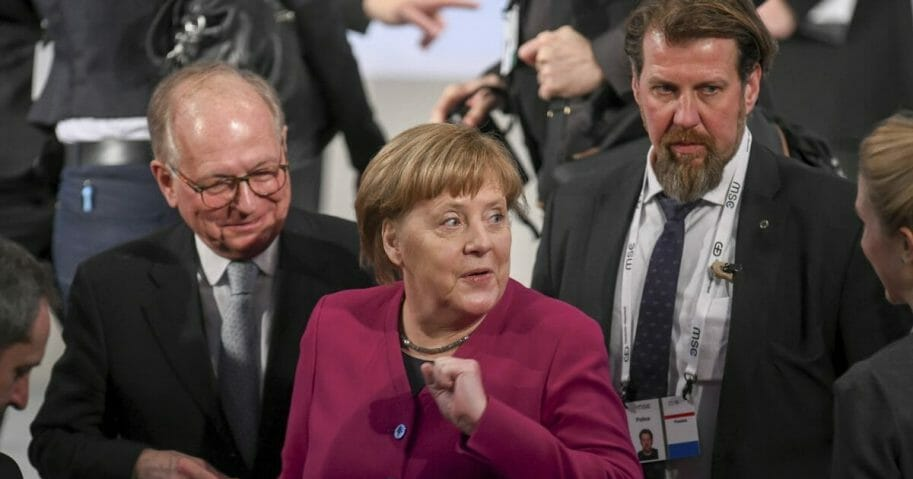 German Chancellor Angele Merkel arrives for a meeting during the Munich Security Conference in Munich.