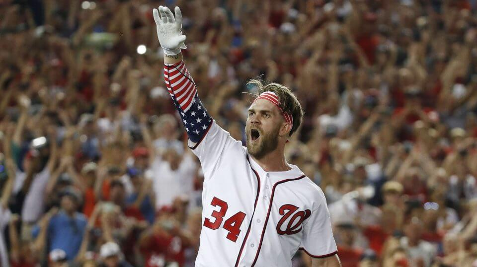 Washington Nationals Bryce Harper reacts to his winning hit during the MLB Home Run Derby in Washington on July 16, 2018.