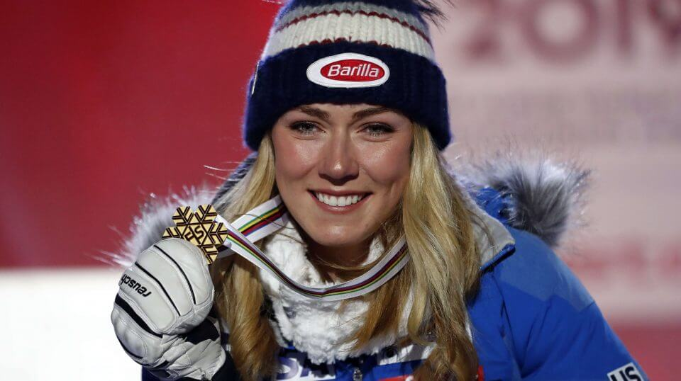 Mikaela Shiffrin poses with her gold medal in the women's super-G at the alpine ski World Championships in Are, Sweden, on Tuesday.