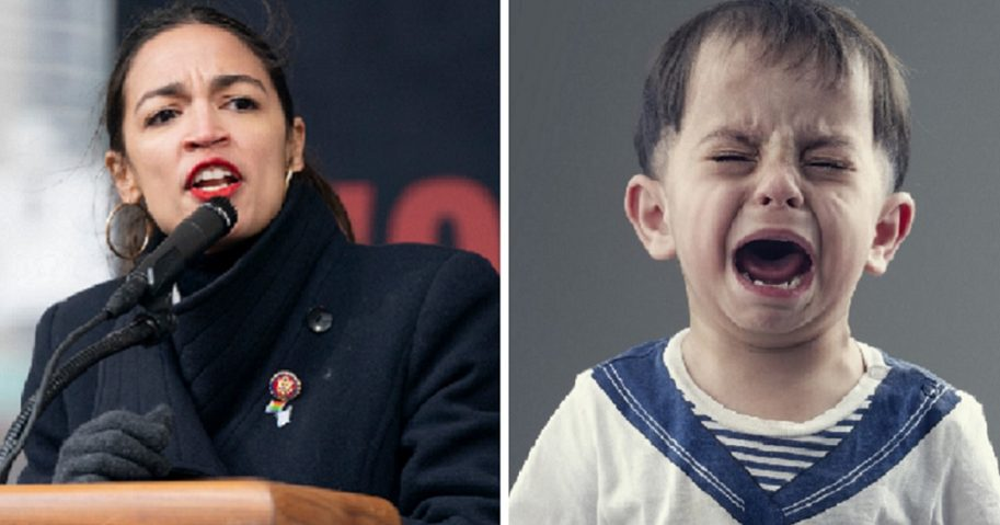 Rep. Alexandria Ocasio-Cortez, left; and crying boy, right.