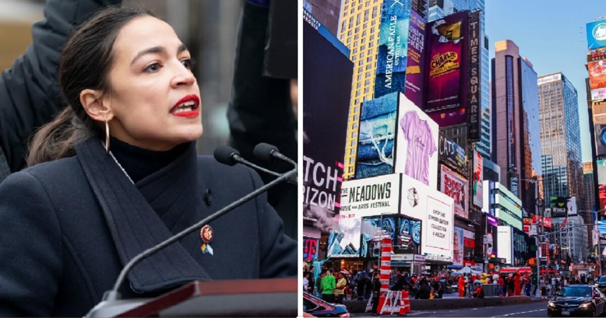 Rep. Alexandria Ocasio-Cortez, left; Times Square file photo, right.