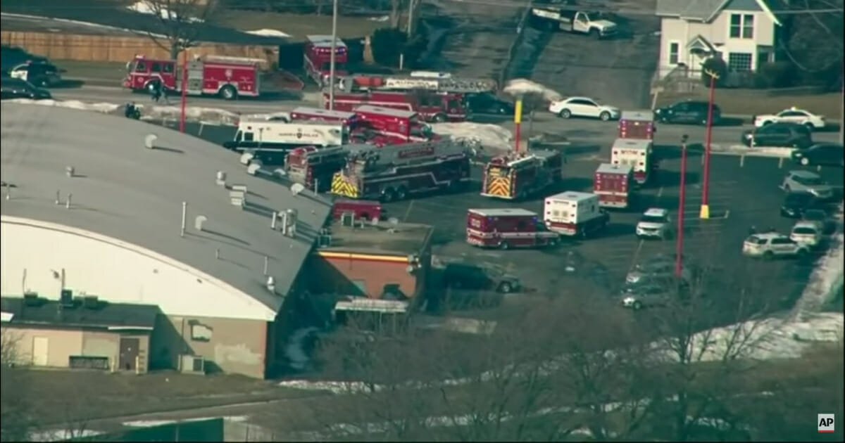 Scene where an active shooter was reported at an Aurora, Illinois, industrial park