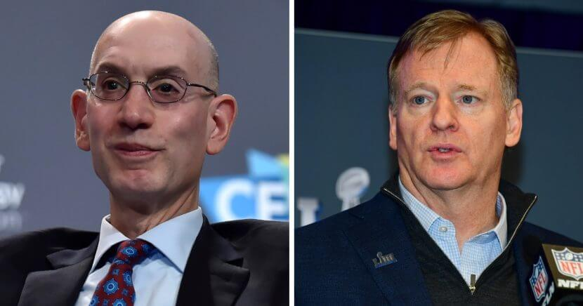 NBA commissioner Adam Silver, left, has reportedly been approached by NFL owners who want him to take over from Roger Goodell, right. But Silver doesn't seem to be interested.