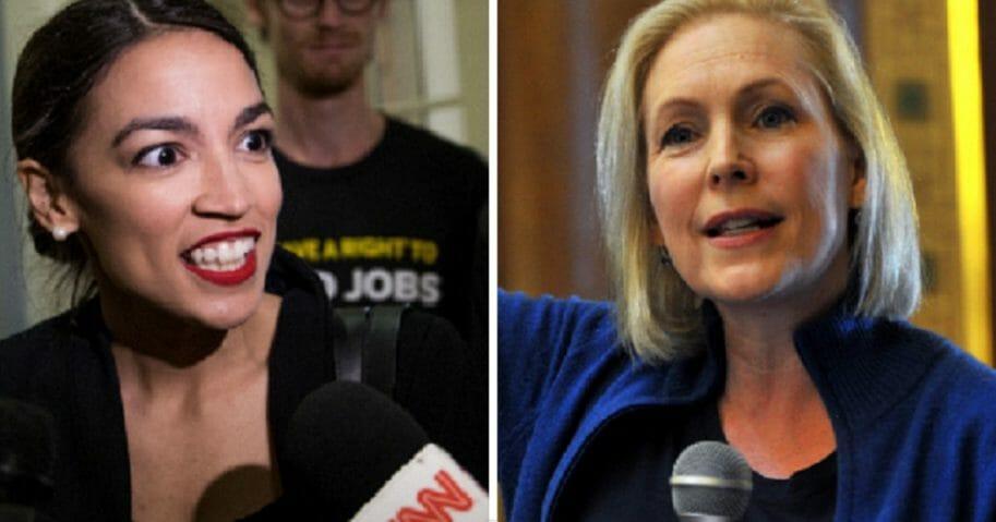 U.S. Rep. Alexandria Ocasio-Cortez, left; and Sen. Kirsten Gillibrand, right.
