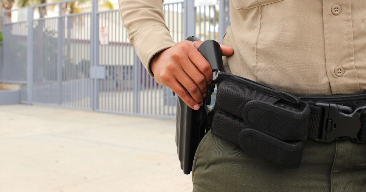 Armed police officer at school